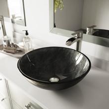 VIGO VGT1058 Gray Onyx Glass Vessel Bathroom Sink Set With Niko Vessel Faucet In Brushed Nickel
