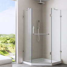 VIGO VG6062CHCL38WS Piedmont Frameless Neo-Angle Shower Enclosure With Low-Profile Base