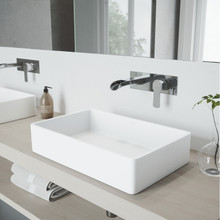 VIGO VGT963 Magnolia Matte Stone Vessel Bathroom Sink Set With Cornelius Wall Mount Faucet In Chrome