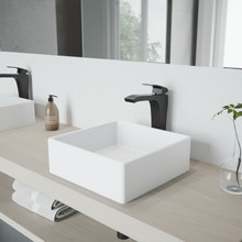 VIGO VGT1092MB Dianthus Matte Stone Vessel Bathroom Sink Set With Blackstonian Vessel Faucet In Matte Black