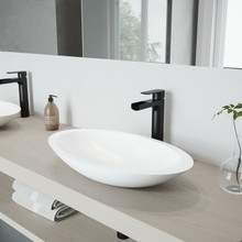 VIGO VGT945 Wisteria Matte Stone Vessel Bathroom Sink Set With Amada Faucet In Matte Black