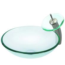 VIGO VGT059BNRND Crystalline Glass Vessel Bathroom Sink And Waterfall Faucet Set