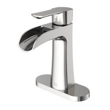VIGO VG01041BNK1 Paloma Single Hole Bathroom Faucet With Deck Plate In Brushed Nickel