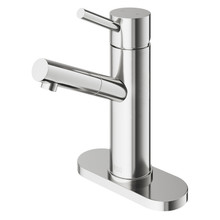 VIGO VG01009BNK1 Noma Single Hole Bathroom Faucet With Deck Plate In Brushed Nickel