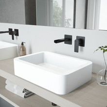 VIGO VGT980 Petunia Matte Stone Vessel Bathroom Sink Set With Atticus Wall Mount Faucet In Matte Black