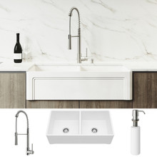 """VIGO VG15809 All-In-One 36"""" Casement Front Matte Stone Double Bowl Farmhouse Apron Kitchen Sink Set With Laurelton Faucet In Stainless Steel, Two Strainers And Soap Dispenser"""