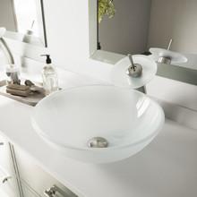 VIGO VGT036BNRND White Frost Glass Vessel Bathroom Sink And Waterfall Faucet Set