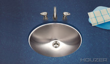 "Houzer Opus CH-1800-1 15 1/2"" x 11 3/8"" x 6"" Undermount Lav Oval Sink - Stainless Steel"