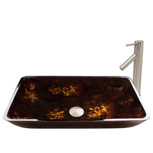 VIGO VGT475 Rectangular Brown And Gold Fusion Glass Vessel Bathroom Sink Set With Dior Vessel Faucet In Brushed Nickel