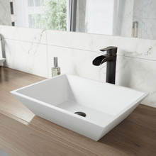 VIGO VGT1211 Vinca Matte Stone Vessel Bathroom Sink Set With Niko Vessel Faucet In Antique Rubbed Bronze