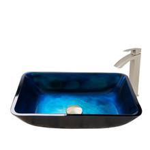 VIGO VGT795 Rectangular Turquoise Water Glass Vessel Bathroom Sink Set With Duris Vessel Faucet In Brushed Nickel