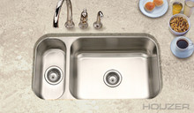 "Hamat Elite 31 1/2"" X 17 15/16"" Undermount 80/20 Double Bowl Kitchen Sink & Strainer - Stainless Steel"