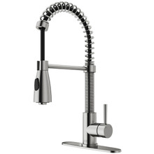 VIGO VG02003STK1 Brant Pull-Down Spray Kitchen Faucet With Deck Plate In Stainless Steel