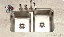 "Hamat Elite 31 1/2"" X 20 3/16"" Undermount 60/40 Double Bowl Kitchen Sink & Strainer - Stainless Steel"