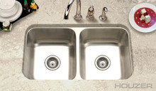 "Hamat VITALITY 31 1/2"" X 17 15/16"" Undermount 50/50 Double Bowl Kitchen Sink & Strainer - Stainless Steel"