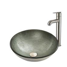 VIGO VGT838 Simply Silver Glass Vessel Bathroom Sink Set With Seville Vessel Faucet In Brushed Nickel