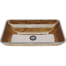 """VIGO VG07046 22 1/2"""" Rectangular Amber Sunset Glass Vessel Bathroom Sink"""