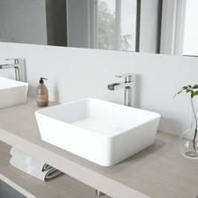 VIGO VGT940 Marigold Matte Stone Vessel Bathroom Sink Set With Amada Faucet In Brushed Nickel