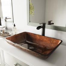 "VIGO VGT1055 22"" Rectangular Russet Glass Vessel Bathroom Sink Set Niko Vessel Faucet In With Antique Rubbed Bronze"