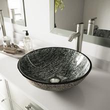 VIGO VGT827 Titanium Glass Vessel Bathroom Sink Set With Seville Vessel Faucet In Brushed Nickel