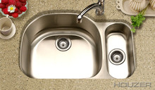 "Hamat 32"" X 21"" Undermount 80/20 Double Bowl Kitchen Sink & Strainer - Stainless Steel"