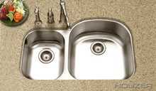 "Hamat 32 1/2"" X 20-11/16"" Undermount 70/30 Double Bowl Kitchen Sink & Strainer - Stainless Steel"