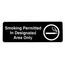 Alpine Smoking Permitted in Designated Areas Only Sign, 3 in. x 9 in.