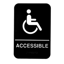 Alpine ADA Handicap Accessible Sign with Braille, Black/White, ADA Compliant, 6 in. x 9 in.