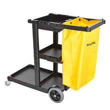 Alpine 463 Industries Janitorial Cleaning Cart with 3 Shelves - Gray