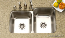 "Hamat CLASSIC 31 1/2"" X 20 3/16"" Undermount 60/40 Double Bowl Kitchen Sink & Strainer - Stainless Steel"