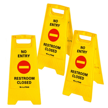 Alpine 499-NE NO Entry Restroom Closed Sign - Pack of 3 - Yellow