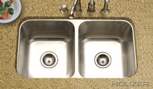 "Hamat CLASSIC 31 1/2"" X 17-15/16"" Undermount 50/50 Double Bowl Kitchen Sink & Strainer - Stainless Steel"