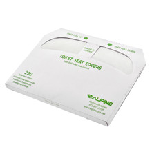 Alpine P400-C Half-Fold Toilet Seat Cover - 20 Packs of 250 Covers - White