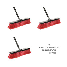 "Alpine 460-18-2-3 18"" Smooth Surface Push Broom, Pack of 3 - Black/Red"
