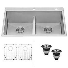 Ruvati 33 x 22 inch Drop-in 50/50 Double Bowl Tight Radius 16 Gauge Topmount Stainless Steel Kitchen Sink - RVH8051