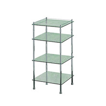 Valsan 57404CR Essentials Chrome Four Tier Glass Shelf Unit
