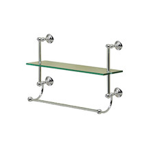 Valsan 66307CR Kingston Chrome Single Glass Shelf with Towel Bar