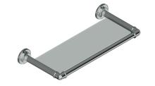 Valsan PI225UB Industrial Unlacquered Brass Glass Shelf