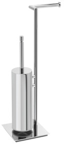 Valsan PX603CR Axis Chrome Freestanding Toilet Brush with Spare Roll Holder