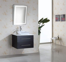 Krugg Icon2432ADA 24 Inch x 32 Inch Led Bath Mirror Ada Fixed Tilt Lighted Vanity Mirror + Digital Clock 4000K