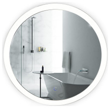 Krugg Sol30 30 Inch Sol Round LED Lighted Wall Mount Vanity Mirror With Defogger