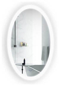 Krugg Sol2240 22 Inch x 40 Inch Oval LED Lighted Wall Mount Bathroom Mirror Fog Free and Dimmable