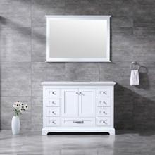 Lexora Dukes 48 Inch White Single Vanity, White Carrara Marble Top, White Square Sink and 46 Inch Mirror