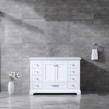 Lexora Dukes 48 Inch White Single Vanity, White Carrara Marble Top, White Square Sink and no Mirror
