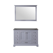 Lexora Dukes 48 Inch Dark Grey Single Vanity, no Top and 46 Inch Mirror