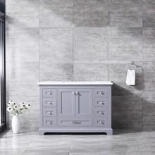 Lexora Dukes 48 Inch Dark Grey Single Vanity, White Carrara Marble Top, White Square Sink and no Mirror