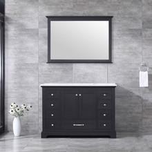 Lexora Dukes 48 Inch Espresso Single Vanity, White Carrara Marble Top, White Square Sink and 46 Inch Mirror