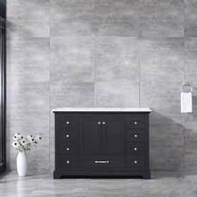 Lexora Dukes 48 Inch Espresso Single Vanity, White Carrara Marble Top, White Square Sink and no Mirror