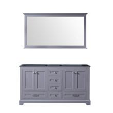 Lexora Dukes 60 Inch Dark Grey Double Vanity, no Top and 58 Inch Mirror