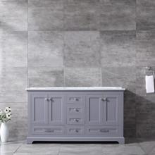 Lexora Dukes 60 Inch Dark Grey Double Vanity, White Carrara Marble Top, White Square Sinks and no Mirror